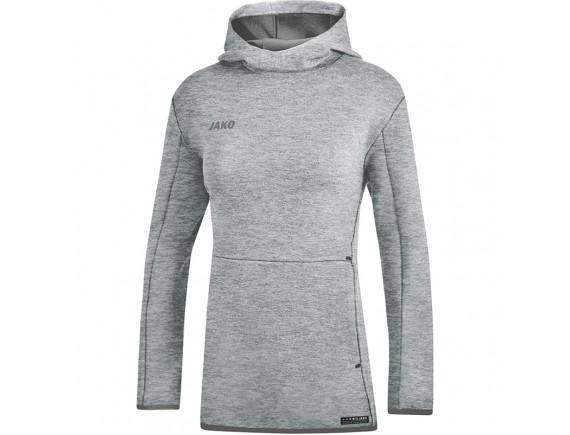 Ženski pulover s kapuco Premium Basics - siv 40